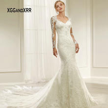 76b96b750f3f38 Elegante Lange Mouwen Mermaid Kant Wedding Dress 2019 Sexy Illusion Terug  met Knoppen Kralen Applicaties Bruidsjurk Romantische .