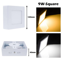 CREE SMD 3528 9W Round Square LED Recessed Ceiling Panel Flat Down Light Dimmable AC 85-265V LED spotlight downlight luz lamp