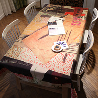 The Masters Piece Abstract Paintings Style Table Cloth Padded Cotton Linen