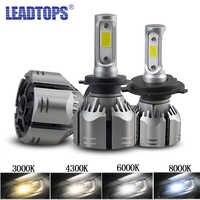 LEADTOPS 2pcs Car H4 LED H11 HeadLamps 8000k H1 H8 H9 H7 9005 LED 9006 6000k 4300k 3000k 12V 60W Waterproof DJ