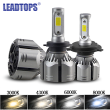 LEADTOPS 2pcs Car H4 LED H11 HeadLamps 8000k H1 H8 H9 H7 9005 9006 6000k 4300k 3000k 12V 60W Waterproof DJ