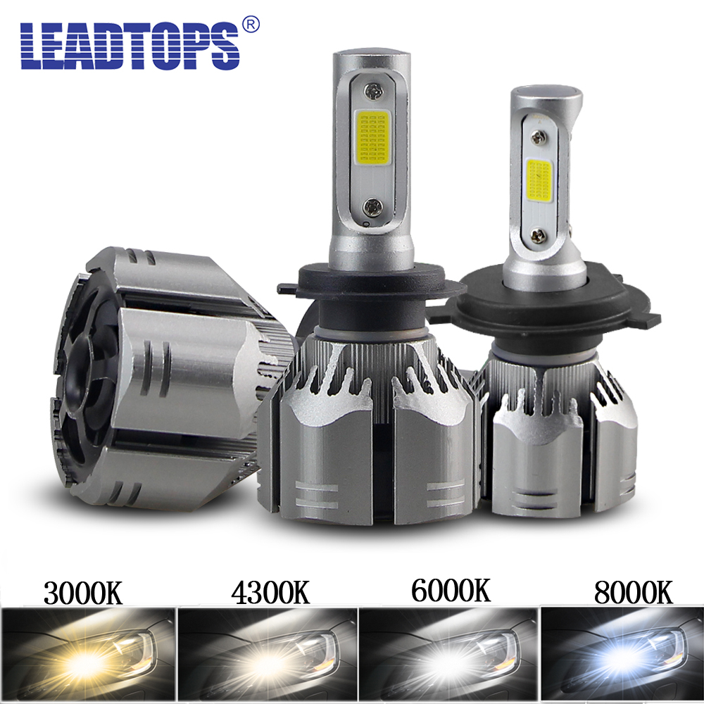 LEADTOPS 2pcs Car <font><b>H4</b></font> <font><b>LED</b></font> H11 HeadLamps 8000k H1 H8 H9 H7 9005 <font><b>LED</b></font> 9006 6000k 4300k 3000k 12V 60W Waterproof DJ image