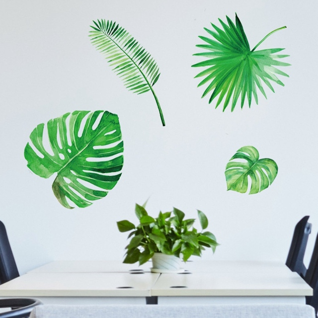 1 Sheet Palm Leaves Wall Stickers Green Leaf Watercolor Decals Mural Art Vinyl Poster Home