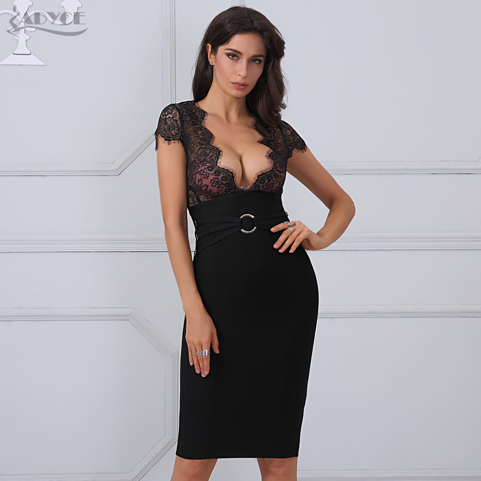 68e5be9cedb Adyce 2018 New Arrival Summer Dress Women Sexy Black Lace Sheer Patchwork  Bandage Dress Vestidos Celebrity Party Dress Clubwear