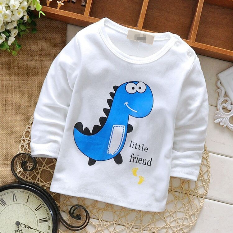 Baby Toddler Kids Boys Girls Tshirts Cotton Frog Print Long Sleeve Winter Bottoming Shirts for Height 60-90cm Children G024