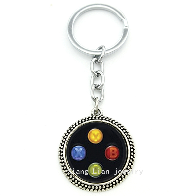 2016 Trendy fashion plated silver jewelry key chain Xbox controller art picture pendant keychain ring bijoux men,women gift T167 image