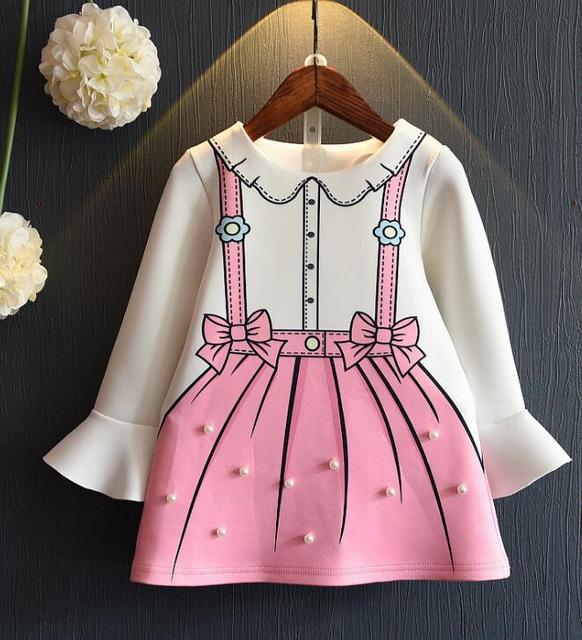 Bebé vestido de Las Muchachas Linda perla de dibujos animados Una palabra Vestido de princesa vestidos de manga Larga al por mayor