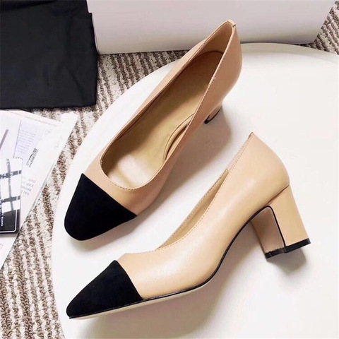 Women Genuine Leather Shoes High Heel Mary Jane Shoes Ladies Pumps Sheepskin Luxury Women Shoes Fashion Mixed Color Shoes Women Islamabad