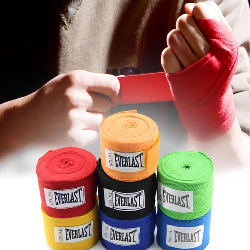 Prix pour Coton muay thai Élastique bandage De Boxe Sanda lutte Bodybuilding bande Fitness bretelles bandage poignet 2 taille 8 couleur