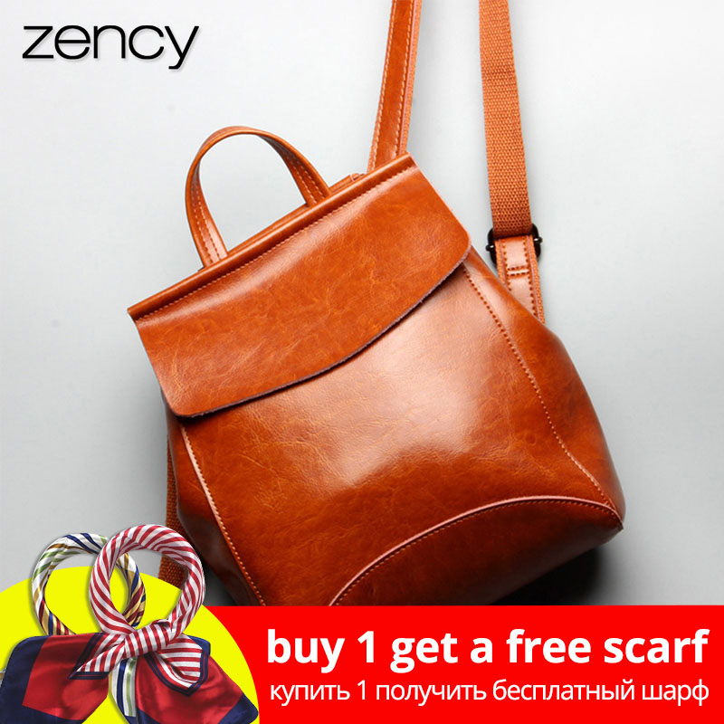 Zency 100% Real Leather Women Backpack Fashion Brown Daily Casual Knapsack Preppy Style Notebook Schoolbag For Girl Travel Bag