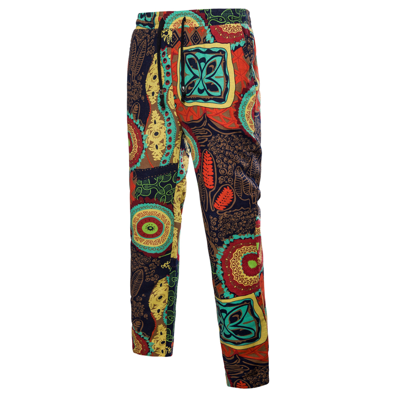 Spring Men Pants Male Trousers With Drawstring Linen Fashion Casual Slim Thin National Style Multicolor Floral Print