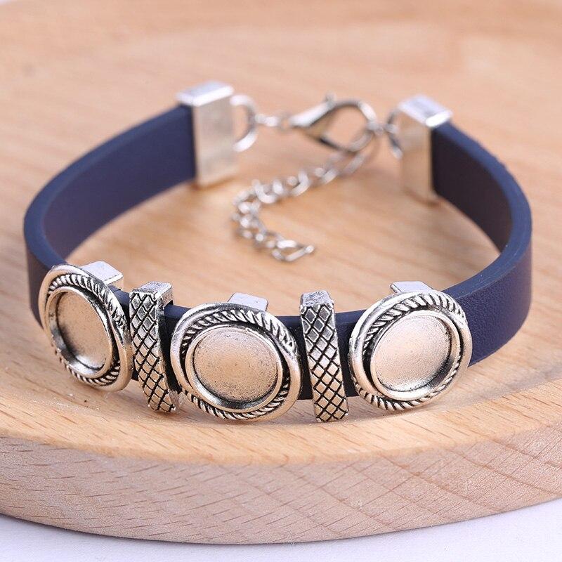 Reidgaller 5 pcs espaços em branco pulseira de couro liso baes 10mm de diâmetro configurações cabochão diy acessórios para pulseiras fazer