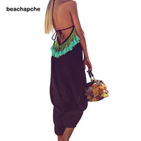 Beach jumpsuit New Fashion Woman Sexy Backless tassels Sleeveless V Neck Loose Jumpsuits Summer Female Clothing Large Size