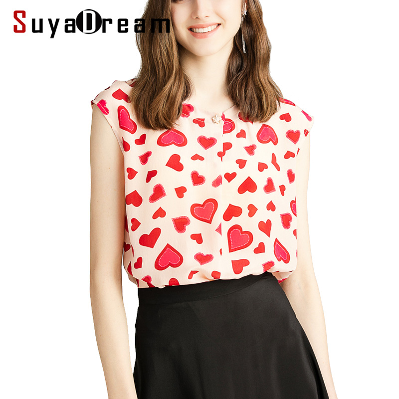 Women Blouse 100 REAL SILK Crepe Red Hearts Print Blouse Shirt Sleeveless Office Lady Blouses 2019