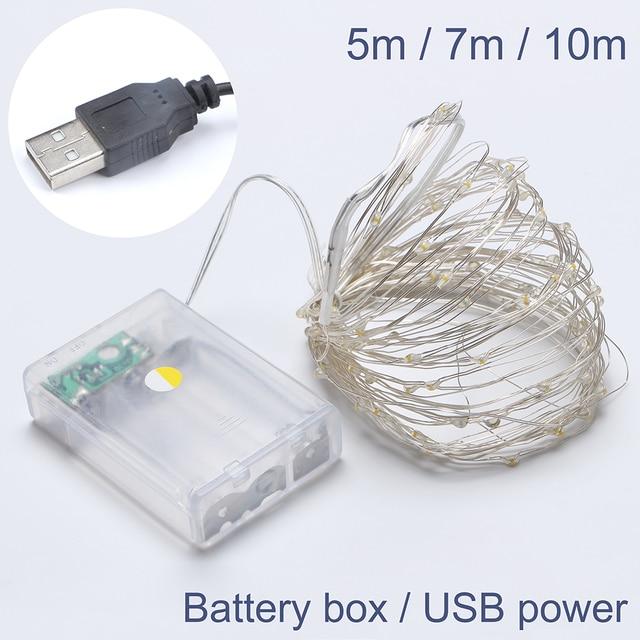 50/70/100 светодио дный USB/Батарея работает медной проволоки строку Рождественские огни Звездное гирляндой для гирлянды/вечерние/Свадебные украшения