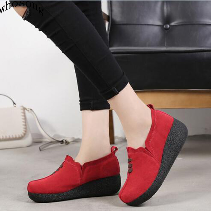 WHOSONG 2019 Spring Women Flat Platform Shoes Casual Sneakers   Leather     Suede   Slip On Shoes Woman Creepers moccasins M107