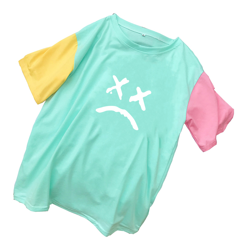 Kawaii Cute Expression Print Women T Shirt Summer Casual Mutlicolor Spliced Cotton Tshirt Ladies Casual Harajuku Streetwear Tops