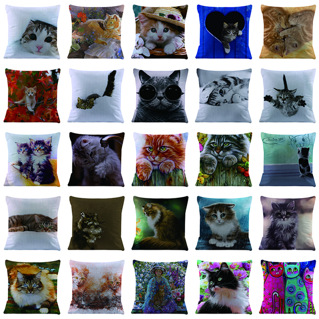 Gatto Cuscino cuscino Breve peluche Del Fumetto animale Pittura di arte gatti co