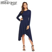 Meaneor 2017 Women Casual Large Swing Asymmetric Autumn Dress Long Sleeve O Neck Slim Fit Solid