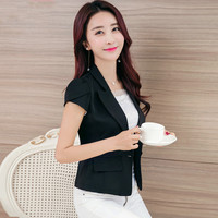 2016 Free Shipping New Summer Women Suit Slim Short Sleeved Jacket White Color Design Women Work