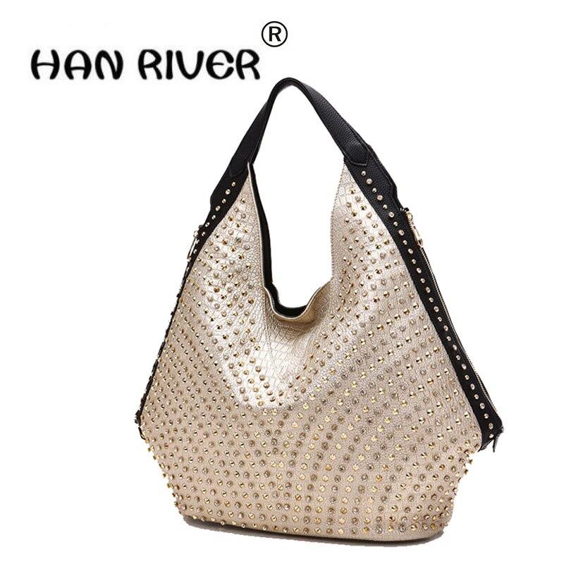 HANRIVER super Large bag new style of Diamond Dumplings package Fashion trend women bag single shoulder rivet bag PU leather