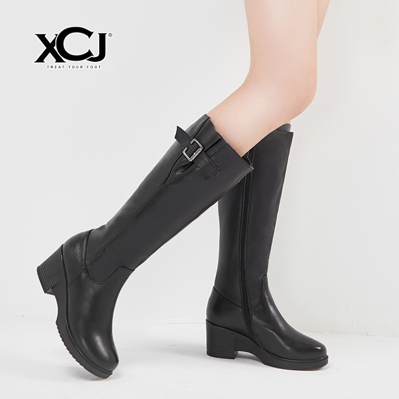 купить Women's Winter Shoes Natural Wool Genuine Leather Women Winter Boots High Quality Knee High Boots Brand Women Winter Shoes XCJ по цене 5371.8 рублей