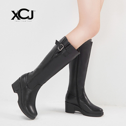 Women's Winter Shoes Natural Wool Genuine Leather Women Winter Boots High Quality Knee High Boots Brand Women Winter Shoes XCJ