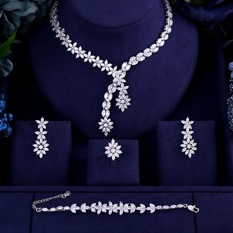 Luxury AAA cubic zirconia heavy necklace ,drop earrings ,bracelet and ring 4pcs dubai full wedding bridal jewelry set for womanLuxury AAA cubic zirconia heavy necklace ,drop earrings ,bracelet and ring 4pcs dubai full wedding bridal jewelry set for woman