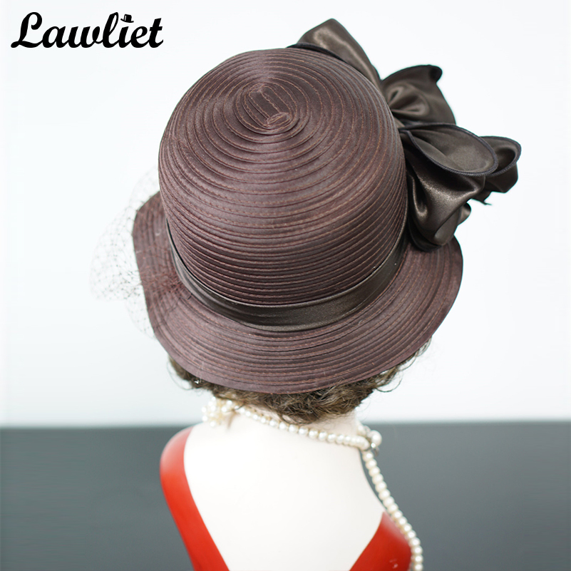 Brown Womens Hat French Veil Netting Church Hat Ladies Sun Hat Carriage  Wedding Satin Ribbon Cloche Bucket Hat Sembrero Fedoras -in Sun Hats from  Women s ... 7741261f38e