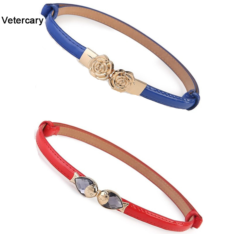 Women Luxury Patent Leather Belt Fashion Design HOT Black Red Thin Adjust Waistband Party Gold Fish Buckle Rose Flower Hasp Girl