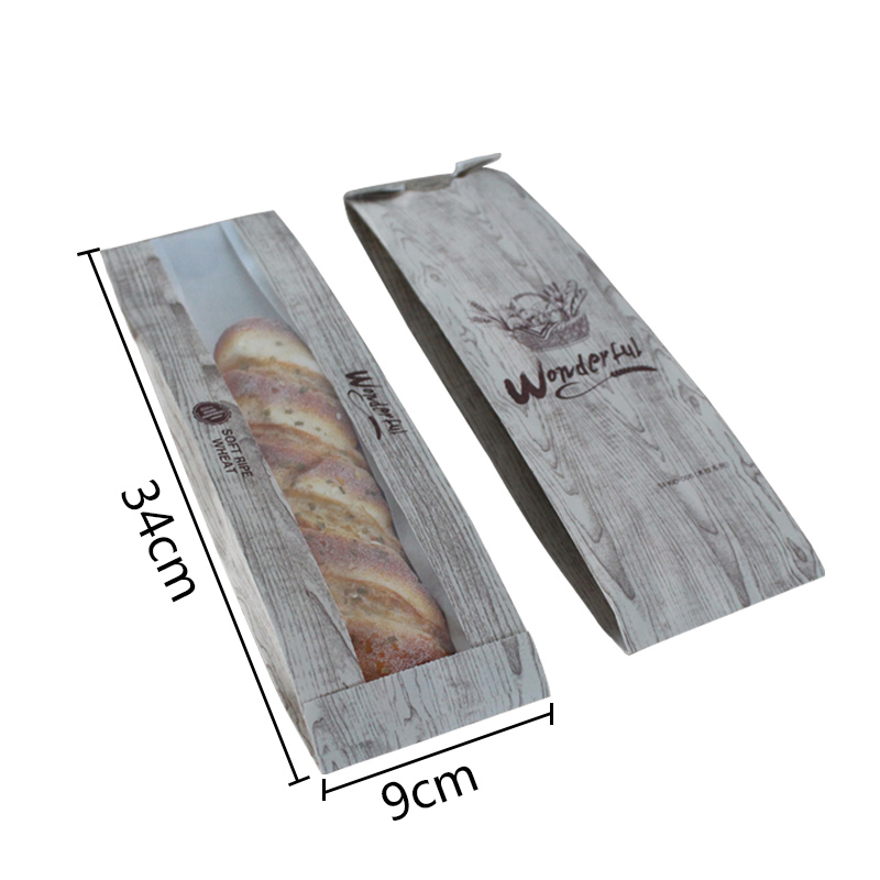 30 Pcs Bakery Bread Bag 34x9x6cm kraft paper Food Packaging Baking Baguette paper bread bags with window customized supplier in Gift Bags Wrapping Supplies from Home Garden