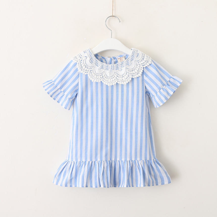 Hurave short sleeve striped dress Kids Clothes baby Girl clothes Children Summer Clothing Casual lace ruffles dressHurave short sleeve striped dress Kids Clothes baby Girl clothes Children Summer Clothing Casual lace ruffles dress