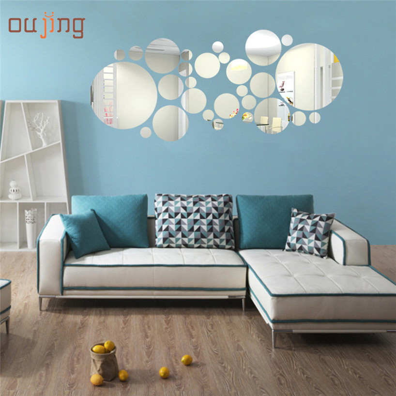My House Round Acrylic Mirror Background Wall Sticker Bedroom Decoration 2017 New Hot Sell 17Tue23