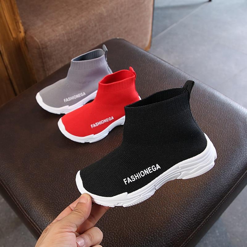 Children Socks Shoes Sneaker For Running Boys Sport Shoe Outdoor Anti Slippery Slip On Fly Knit Kids Girls Casual Shoe Sneakers