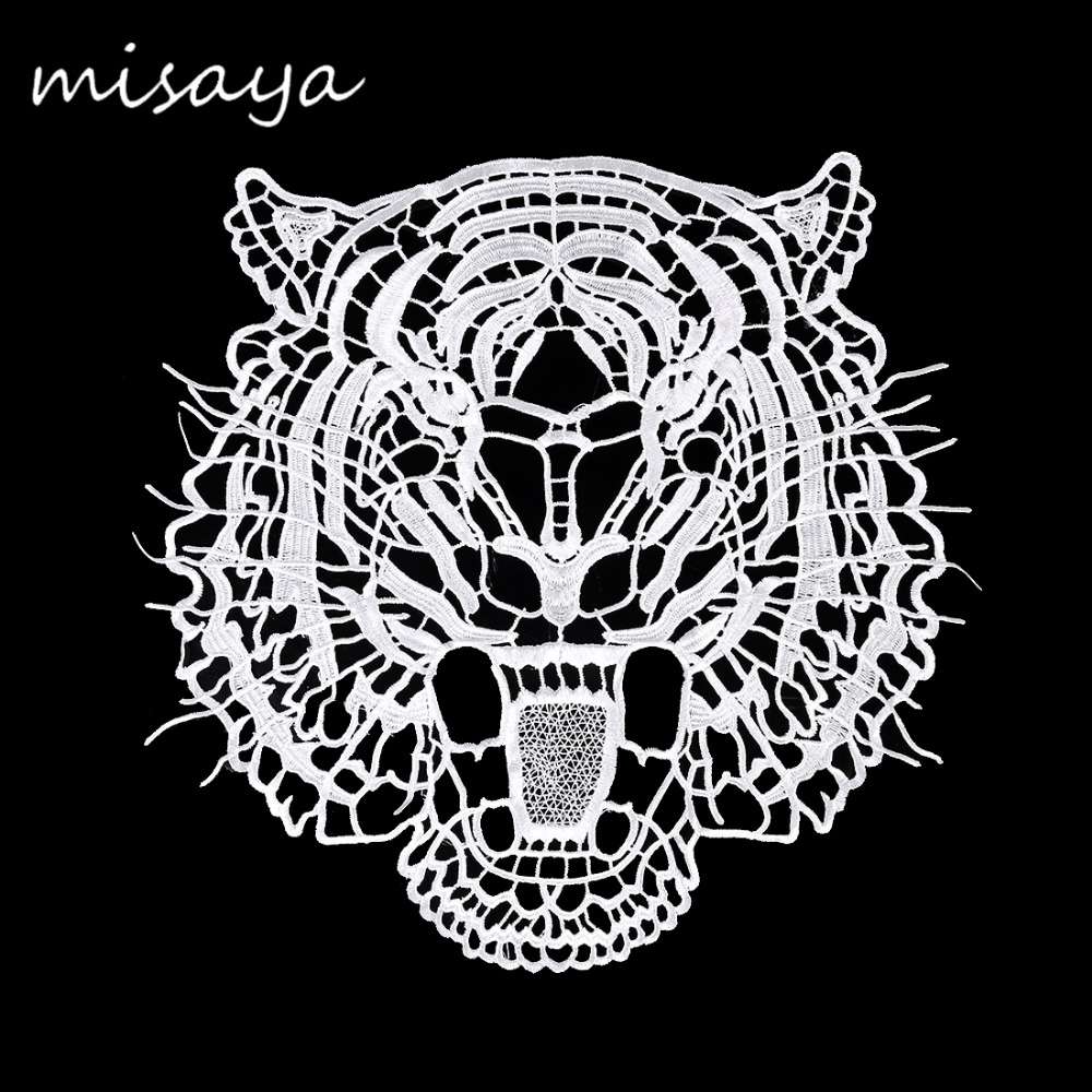 Misaya Tiger Embroidery Lace Patch Handmade Colthes Patch 100% Polyester DIY Manual Animal Shape Sewing Supplies Lace Trim Craft