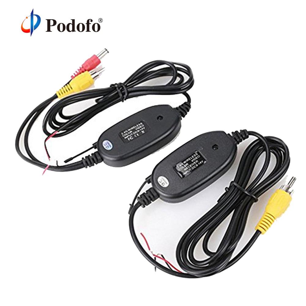 Podofo 2,4 GHz cámara de visión trasera inalámbrica de Video RCA transmisor y receptor Kit para Monitor retrovisor coche transmisor FM y receptor