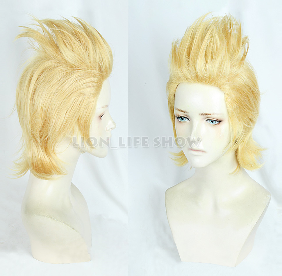 Halloween <font><b>Cosplay</b></font> <font><b>Mirio</b></font> Toogata Golden Wig <font><b>Cosplay</b></font> Boku no Academia <font><b>Cosplay</b></font> Role Play My Hero Academia Hair + Wig Cap image