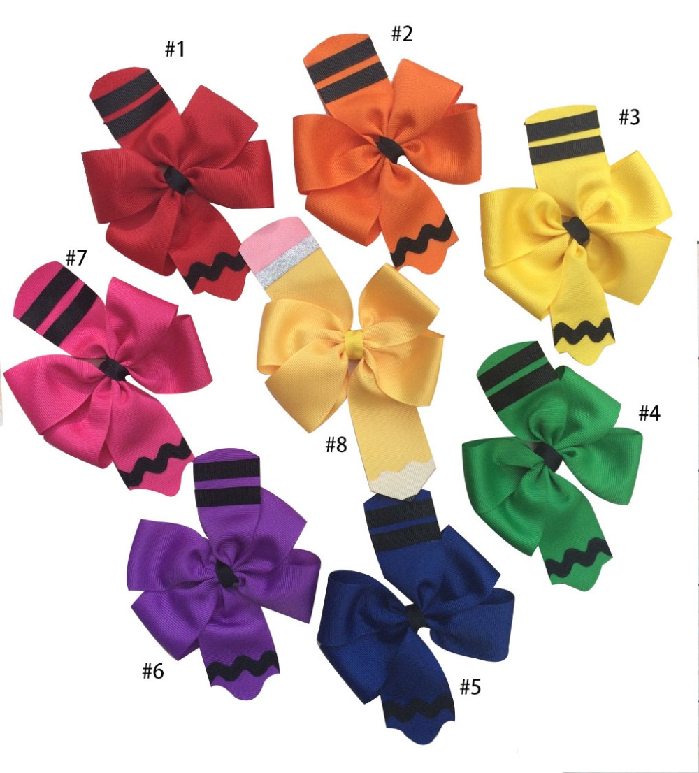 free shipping 120pcs 4 5 encil Hair Bow Back to School Hair Bow crayon hair clip