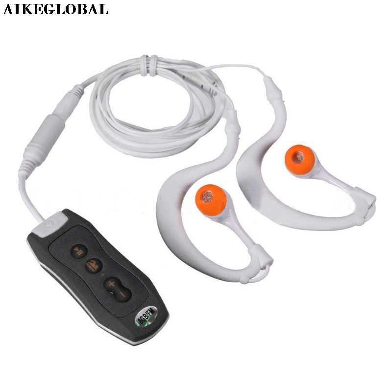 AIKEGLOBAL ハイファイスポーツ 4 ギガバイトクリップ防水 IPX8 Mp3 プレーヤー FM 水泳ダイビング + イヤホン黒ドロップシップ