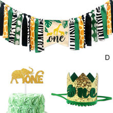 Jungle Animals Themed Highchair Banner Decor Crown Party Supplies for Baby 1st Birthday HUG-Deals(China)