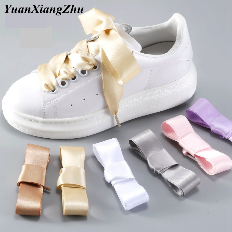 1Pair 2 CM Width Silk Satin Shoelaces Ribbon Shoe Laces Boots Women Sneakers ShoeLace 19 Colors Length 80CM/100CM/120CM S-1