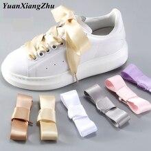 1Pair 2 CM Width Silk Satin Shoelaces Ribbon Shoe Laces Boots Women Sneakers ShoeLace 19 Colors Length 80CM/100CM/120CM S-1
