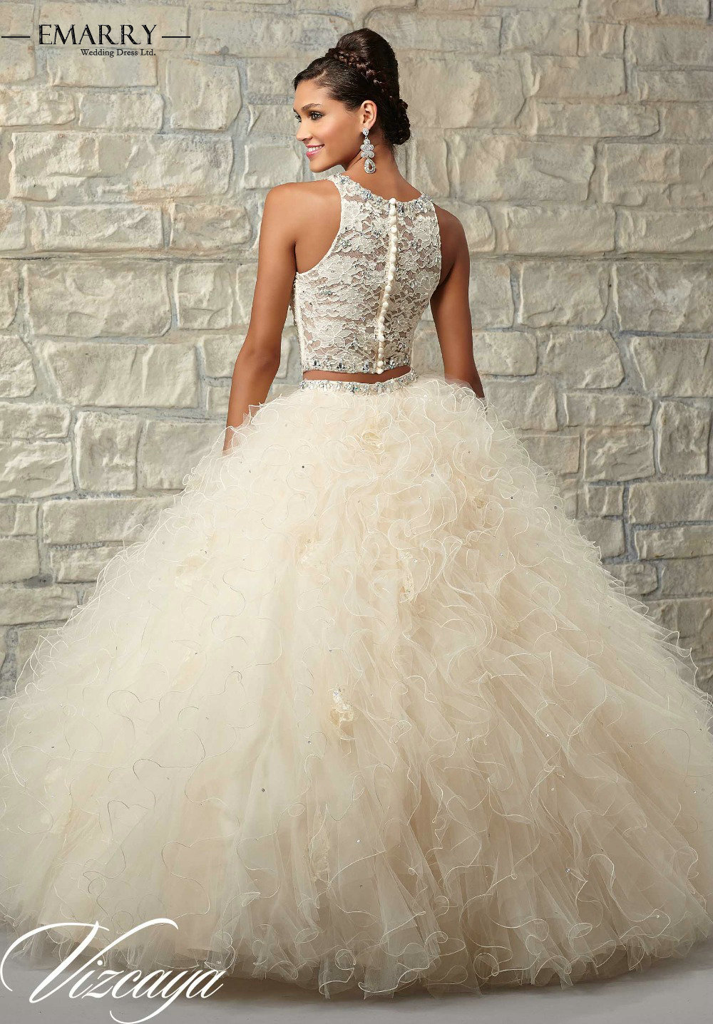 Beaded Lace Two Pieces Wedding Dress Princess Ball Gown Sweet 16 ...