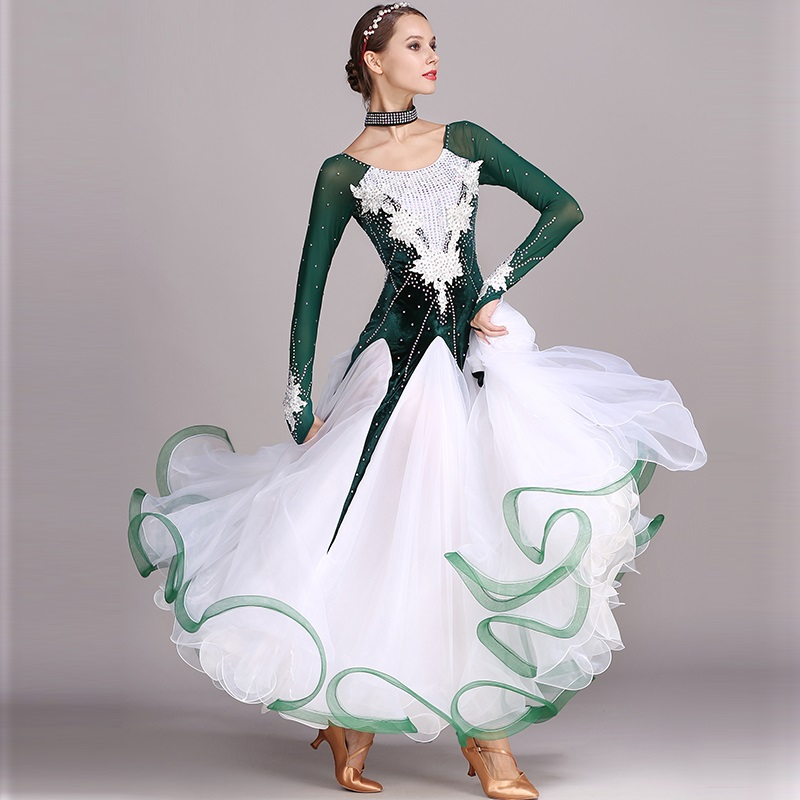 Vert strass Ballroom dance competition robe standard robes costume de danse moderne salle de bal valse robe costumes lumineux