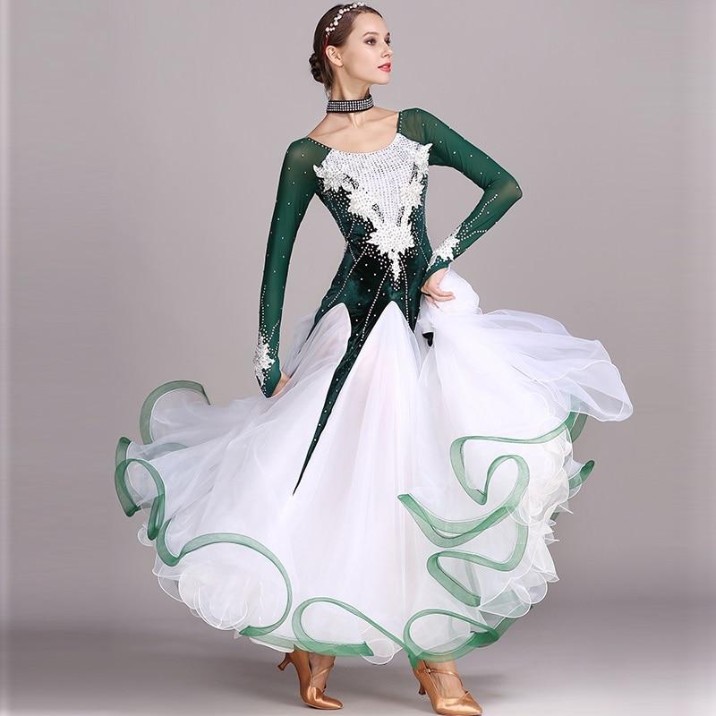 Vert strass Ballroom dance competition robe standard robes costume de danse moderne salle de bal valse robe costumes lumineux