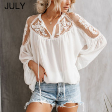 Women Summer Blouse Lace Hollow Out Embroidery Long Sleeve V Neck Casual Loose Shirts Top Female Crochet