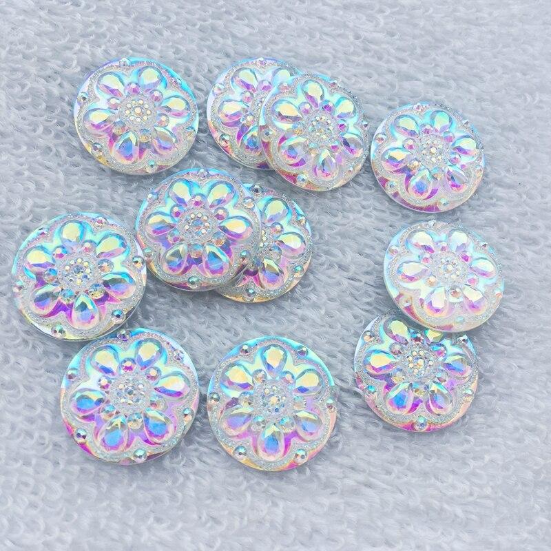 12pcs AB resin 20*30mm Drop Flatback round rhinestone wedding 2 hole buttons DIY