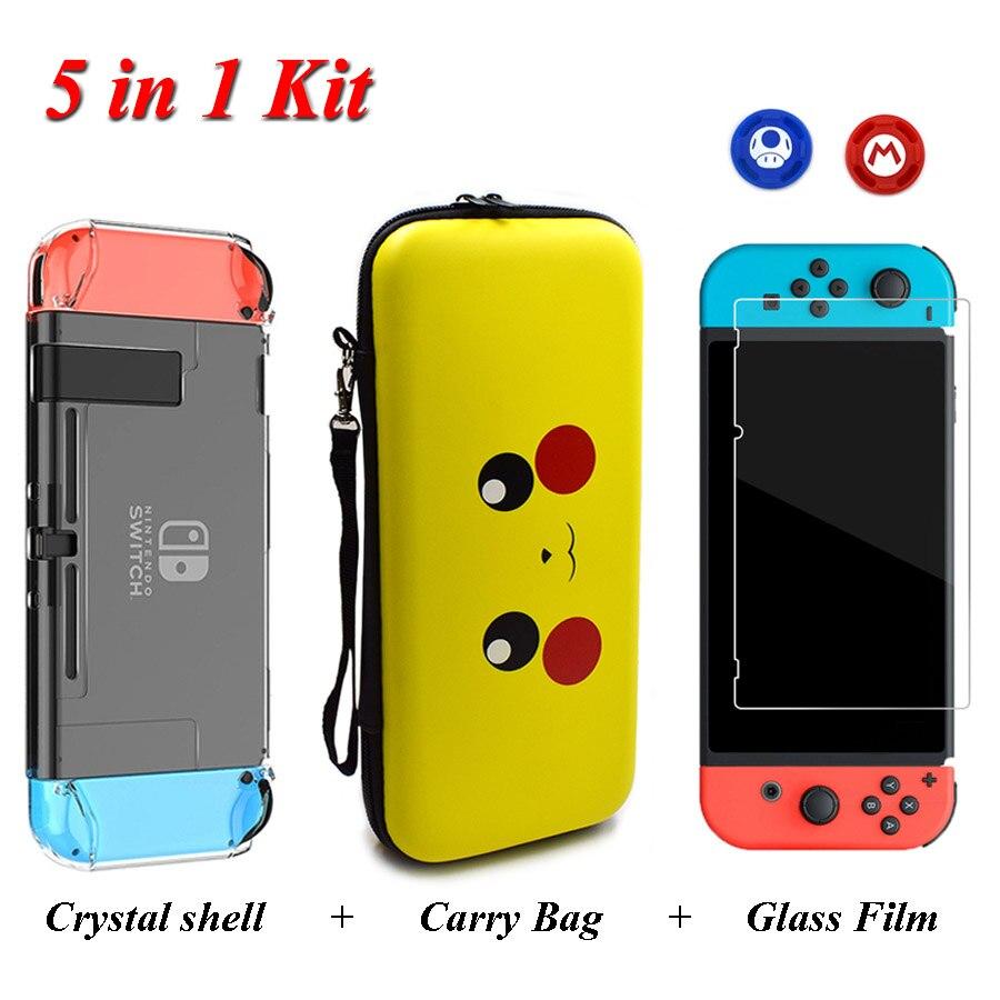 Nintend Interruptor Acessórios de Viagem Bolsa de Transporte & Vidro Temperado Film & Cristal Hard Case & 2 Analógica Caps para Nintendo interruptor NS