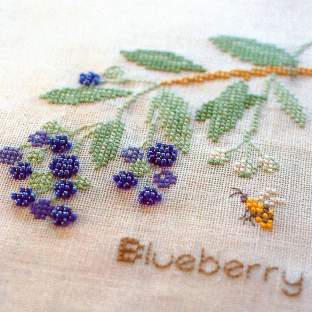 3d Cross Stitch Fresh Blueberry Bead Embroidery Linen Small Home