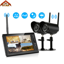 Security Camera System Wifi 7″ TFT Digital LCD Monitor 2PCS Outdoor 400TVL Security Camera Waterproof Motion Detection Recording
